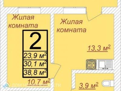 Апартаменты в ЖК Олимп, 38 м2, 8/25 эт.