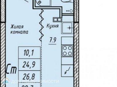 Студия ЖК На Мостовой, 26 м2, 22/25 эт.