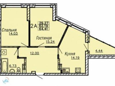 2-к.кв.  ЖК Монблан, 65 м2, 12/24 эт.