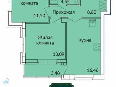 2-к. кв. ЖК Сказы Бажова, 58 м2, 15/17 эт.