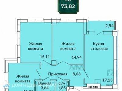 ЖК Сказы Бажова, 74 м2, 4/17 эт.